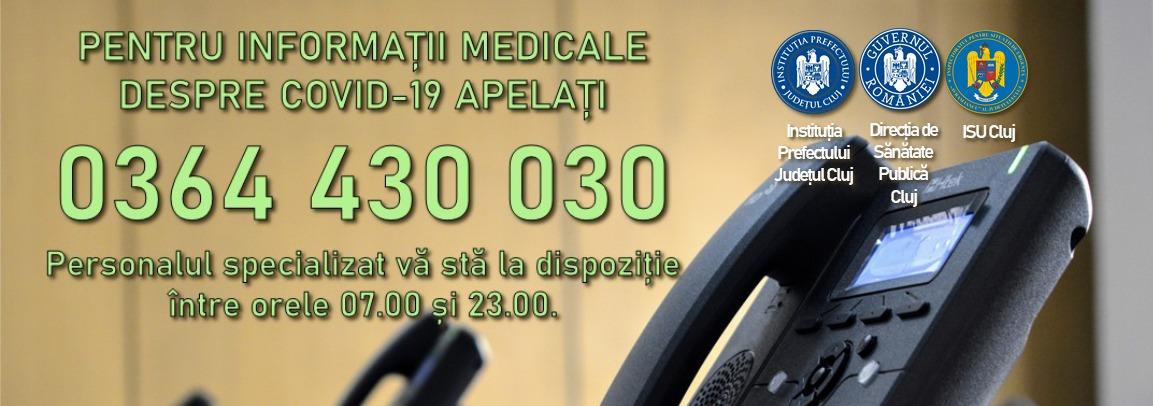 Linie telefonică pentru județul Cluj – Informații COVID-19