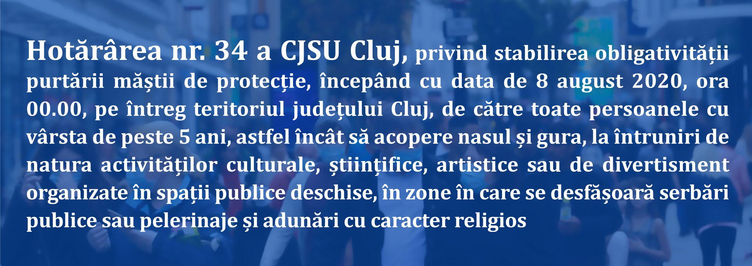 Hotărârea nr. 34 a CJSU Cluj